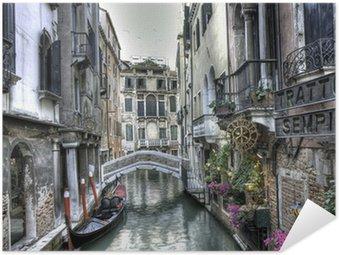 Poster Pixerstick Gondel, palazzi und Bruecke, Venedig, Italien