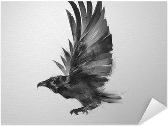 Poster Pixerstick Isolato uccello che vola graficamente corvo nero