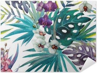 Poster Pixerstick Modello Orchid Hibiscus lascia tropici acquerello