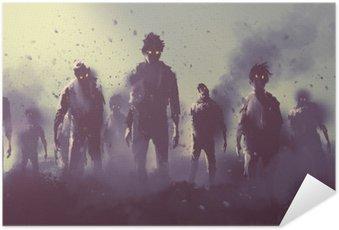 Poster Pixerstick Zombie folla che cammina di notte, concetto halloween, illustrazione pittura