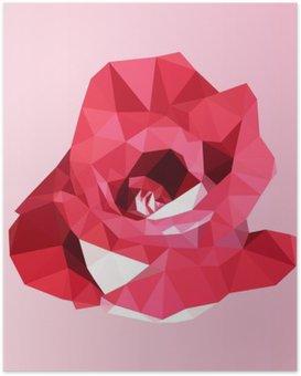 Poster Polygonal rote Rose. Poly niedrigen geometrischen Dreieck Blume Vektor