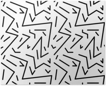 Poster Reticolo geometrico senza giunte d'epoca in stile anni '80 retrò, Memphis. Ideale per design del tessuto, stampa di carta e sito web sfondo. file vettoriale EPS10