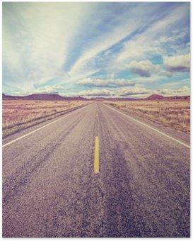 Poster Retro stilisierte Wüsten-Highway, Reisen Abenteuer-Konzept.