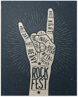Poster Rock-Festival Poster, Flyer. Vector Hand Stil Abbildung zeichnen.
