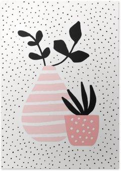 Poster Rosa Vase und Topf mit Pflanzen