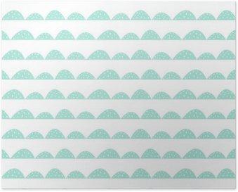 Poster Scandinavian modello menta senza soluzione di continuità in stile disegnato a mano. filari di collina stilizzati. Motivo a onde semplice per il tessuto, tessile e biancheria per neonati.