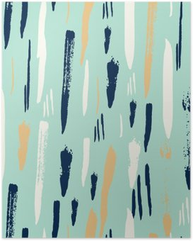 Poster Scandinavian nahtlose Muster mit diagonalen schwarzen Strichen