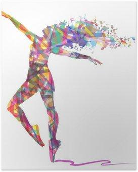 Poster Schattenbild von Ballerina von Farben zusammengesetzt