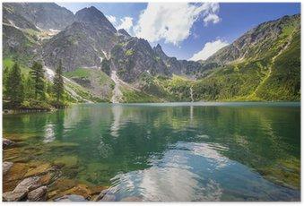 Poster Schöne Landschaft der Tatra Berge und See in Polen