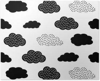 Poster Schwarz und Weiß nahtlose Muster mit Wolken. Cute Baby-Dusche Vektor Hintergrund. Kind Zeichnung Stil Abbildung.