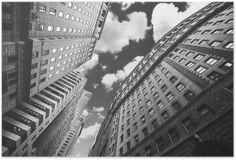 Poster Schwarz-Weiß-Foto von Gebäuden in Manhattan, New York City.