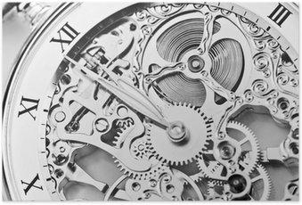 Poster Schwarz-Weiß-Nahaufnahme von Uhrwerk
