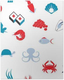 Poster Sea food nahtlose Muster