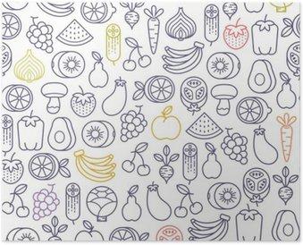 Poster Seamless con frutta e verdura icone