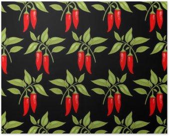 Poster Seamless pattern con pepe di cayenna