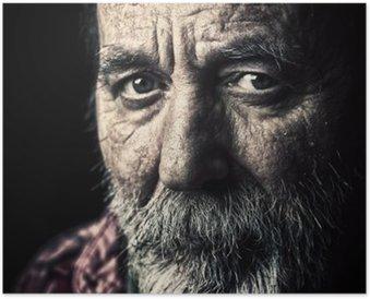 Poster Sehr alte obdachlose älterer Mann Portrait