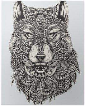 Poster Sehr detaillierte abstrakte Wolf illustration