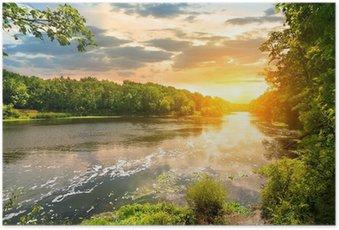 Poster Sonnenuntergang über dem Fluss