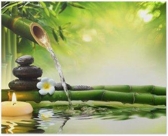 Poster Spa-Steine im Garten mit Flusswasser