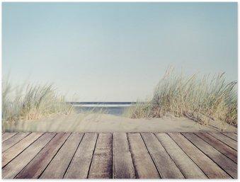 Poster Spiaggia e tavolato in legno