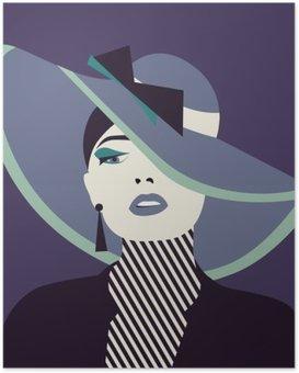 Poster Stilisierte sexy Frau mit Hut