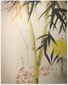 Poster Sun Bambus und Pflaume Zweig