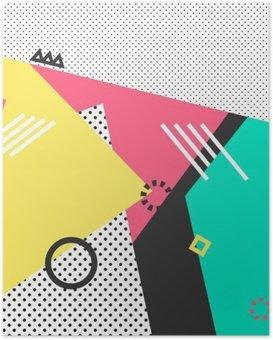 Poster Trendy geometriche carte elementi Memphis. tessitura Retro stile, modello e elementi geometrici. Manifesto moderno disegno astratto, copertina, card design.