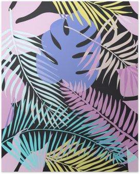 Poster Tropical exotischen Blumen und Pflanzen mit grünen Blättern der Palme.