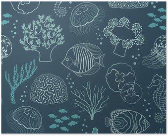 Poster Unterwasser-Leben-Muster