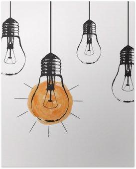 Poster Vector Grunge Illustration mit Glühbirnen und Platz für Text hängen. Moderne Hipster Skizze Stil. Einzigartige Idee und kreatives Denken Konzept.