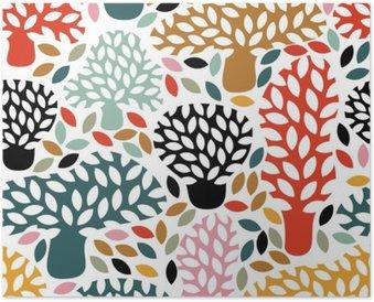 Poster Vector multicolore seamless con disegnata a mano alberi Doodle. Astratto autunno sfondo della natura. Design per il tessuto, stampe caduta tessile, carta da imballaggio.