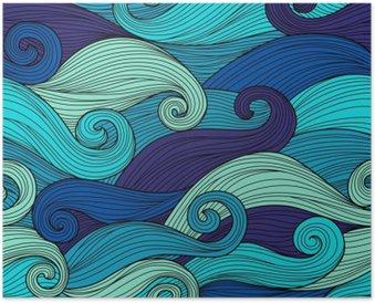 Poster Vektor nahtlose Muster mit abstrakten Wellen