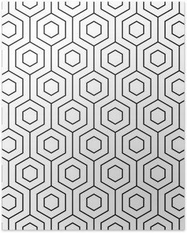 Poster Vektor nahtlose Muster. Moderne stilvolle Textur. Monochrome geometrisches Muster. Der Kühlergrill mit sechseckigen Fliesen.