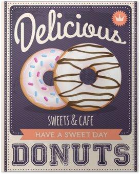 Poster Vektor Vintage Stil Donuts Plakat