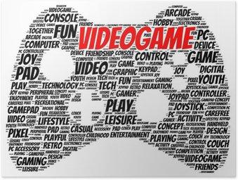 Poster Videospiel-Wort Wolke Form
