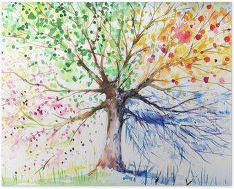 Poster Vier Jahreszeiten Baum