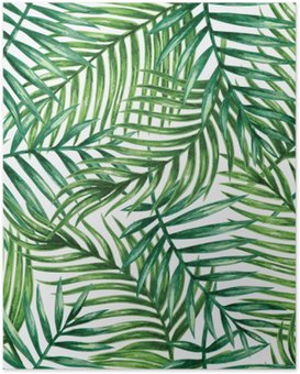 Poster Watercolor tropical palm leaves seamless pattern. Vector illustration.