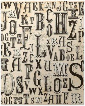 Poster Weinlese-Alphabet-Hintergrund