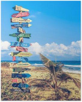 Poster Weltreisen Wegweiser