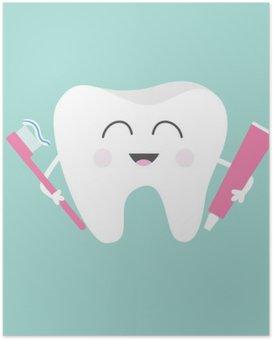 Poster Zahn mit Zahnpasta und Zahnbürste. Netter lustiger Cartoon lächelnd Charakter. Kinderzahnpflege-Symbol. Oral Zahnhygiene. Zahngesundheit. Baby-Hintergrund. Flaches Design.
