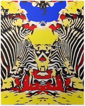 Poster Zeichnen und Malen Zebras mit roten gelben und blauen Hintergrund