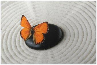 Poster Zen Stein mit Schmetterling