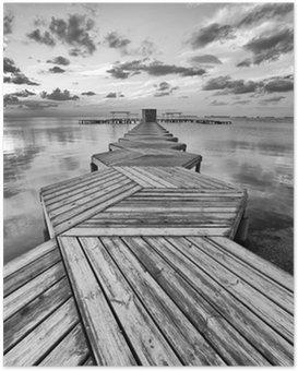 Poster Zig Zag Dock in schwarz und weiß