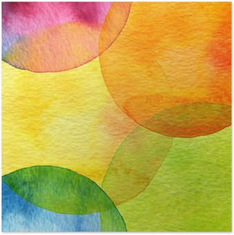 Póster Abstract watercolor circle painted background