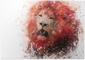 Póster Aguarela Cabeça do leão