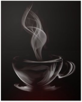Póster Artistic Illustration Smoke Cup Of Coffee on black