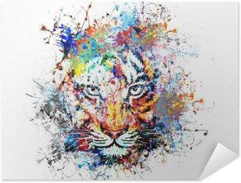 Póster Autoadesivo Яркий фон с тигром
