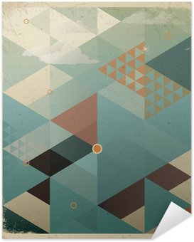Póster Autoadesivo Abstract Retro Geometric Background with clouds