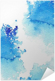 Póster Autoadesivo Azul escuro abstrato aguado frame.Aquatic backdrop.Ink drawing.Watercolor desenhado à mão image.Wet splash.White fundo.