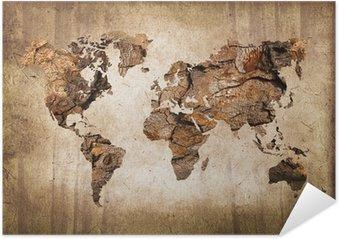 Póster Autoadesivo Carte du monde bois, texture vintage